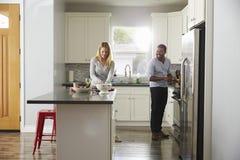 准备一顿膳食的混合的族种夫妇在他们的厨房里 库存照片