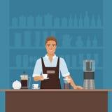准备与咖啡机器传染媒介的一微笑的年轻人barista咖啡在咖啡馆餐馆 免版税库存图片