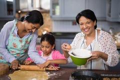 准备与家庭的妇女画象食物在厨房里 图库摄影