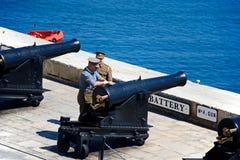 准备中午枪,马耳他 库存照片