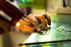 准备为传统纹身花刺竹子的工具 图库摄影