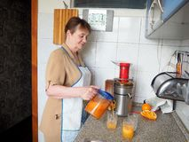 准备从新鲜的水果和蔬菜的汁液 库存照片