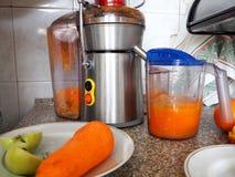 准备从新鲜的水果和蔬菜的汁液 免版税库存图片