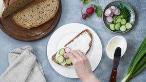 准备健康多士用黄瓜,萝卜,奶油奶酪的妇女 影视素材