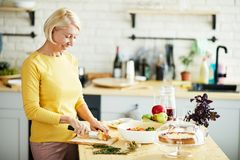 准备健康晚餐的可爱的妇女 免版税库存图片