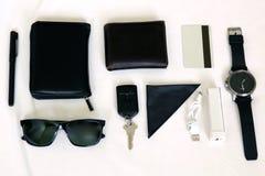 准备出去集合-在白色背景的acessories 免版税图库摄影