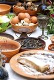准备古老罗马食物 免版税库存照片