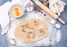 准备圣诞节与切削刀、面团和滚针的姜饼曲奇饼 库存图片