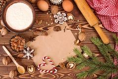准备圣诞节新年糖果 成份和假日 图库摄影