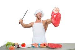 准备大大块未加工的厨师爱好健美者 库存照片