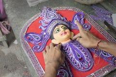 准备女神杜尔加黏土神象,加尔各答,加尔各答,印度的艺术家 库存图片