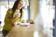 准备好一件黄色的女衬衫的美丽的浅黑肤色的男人做坐在与文献的咖啡馆的采访 免版税库存照片