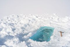 准备好冰的孔-洗巴恩 库存照片