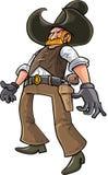 准备好动画片的牛仔掏出他的枪 免版税库存照片