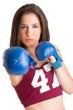 准备好女性的拳击手战斗 免版税库存图片