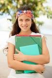 准备好学生的女孩上学 免版税库存照片