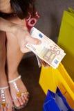 准备好捆绑的欧元对购物 免版税图库摄影