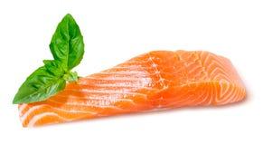 准备好新鲜的三文鱼的内圆角烹调 背景查出的白色 免版税图库摄影