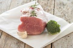 准备好未加工的猪肉烹调 图库摄影