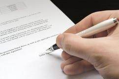 准备好的合同签字 库存图片