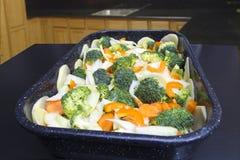 准备好的新鲜蔬菜烹调 免版税库存照片