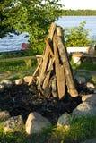 准备好的木柴做火 图库摄影