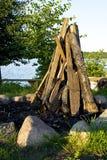 准备好的木柴做火 库存图片