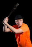 准备好的棒球运动员击中板球运动员 免版税图库摄影