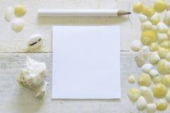 准备好的笔采取关于用一些海壳装饰的一张白色木桌的笔记 库存图片