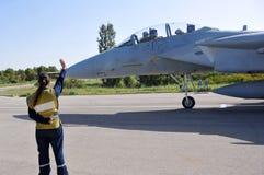 准备好的F-15去 免版税库存照片