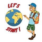 准备好年轻的背包徒步旅行者世界各地远航 库存例证