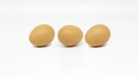 准备好Tripple的鸡蛋烹调 免版税库存照片