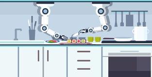准备寿司机器人辅助创新技术人工智能概念的巧妙的得心应手的厨师机器人现代 向量例证