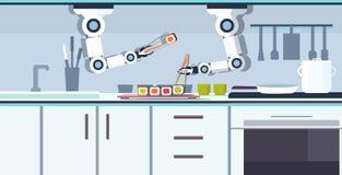准备寿司的巧妙的得心应手的厨师机器人使用筷子机器人辅助创新技术人工智能 库存例证