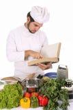 准备年轻人的主厨午餐 库存照片
