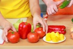 准备新鲜蔬菜食物沙拉的夫妇 库存图片