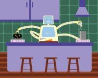 准备早餐的国内机器人在厨房 库存照片