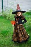 准备的万圣夜 邪恶的巫婆的衣服的女孩清洗草坪犁耙 库存照片