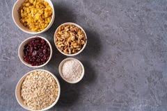 准备的健康有机能量球日期,杏干,燕麦剥落,葡萄干,干蔓越桔,山核桃果成份, 免版税库存图片