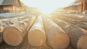 准备的日志在一个木房子的建筑说谎 光亮的冷淡的太阳 冬天建造场所 加拿大角度 股票录像