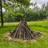 准备的木壁炉 库存图片