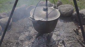 准备的热的新鲜食品在森林在利益 一口大锅用热的新鲜的汤或炖煮的食物或者粥在利益 股票视频