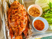 准备的红色talapia鱼烤了用在铝芯的草本 库存照片