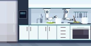 准备荷包蛋和煎蛋卷机器人辅助创新技术人工智能的巧妙的得心应手的厨师机器人 皇族释放例证