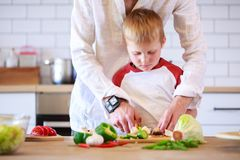 准备食物的人和他的儿子的图象在与菜的桌上 免版税库存照片