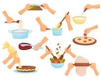 准备食物,烹调面团的过程的手,肉,比萨,糖果店在白色背景的传染媒介例证 皇族释放例证