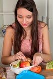 准备饭盒的妇女 图库摄影