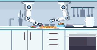 准备鲜美比萨机器人辅助创新技术人工智能概念的巧妙的得心应手的厨师机器人 皇族释放例证