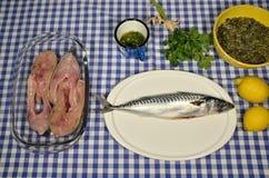 准备鲭鱼和鲤鱼 免版税图库摄影