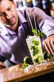 准备Mojito的酒吧老板 免版税图库摄影